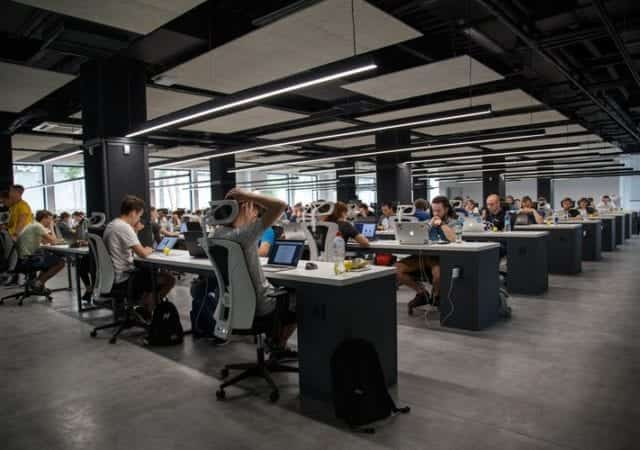 office full of working people