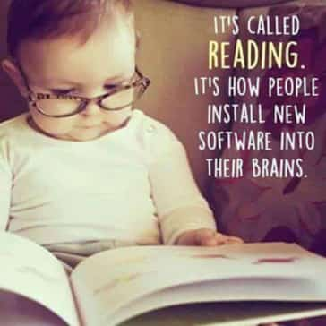 Meme with baby reading a book