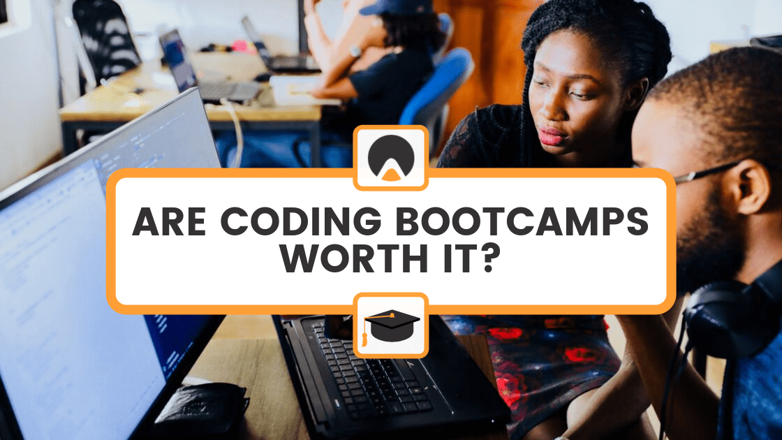 "coding bootcamp class with title overlay: ""ARE CODING BOOTCAMPS WORTH IT?"""