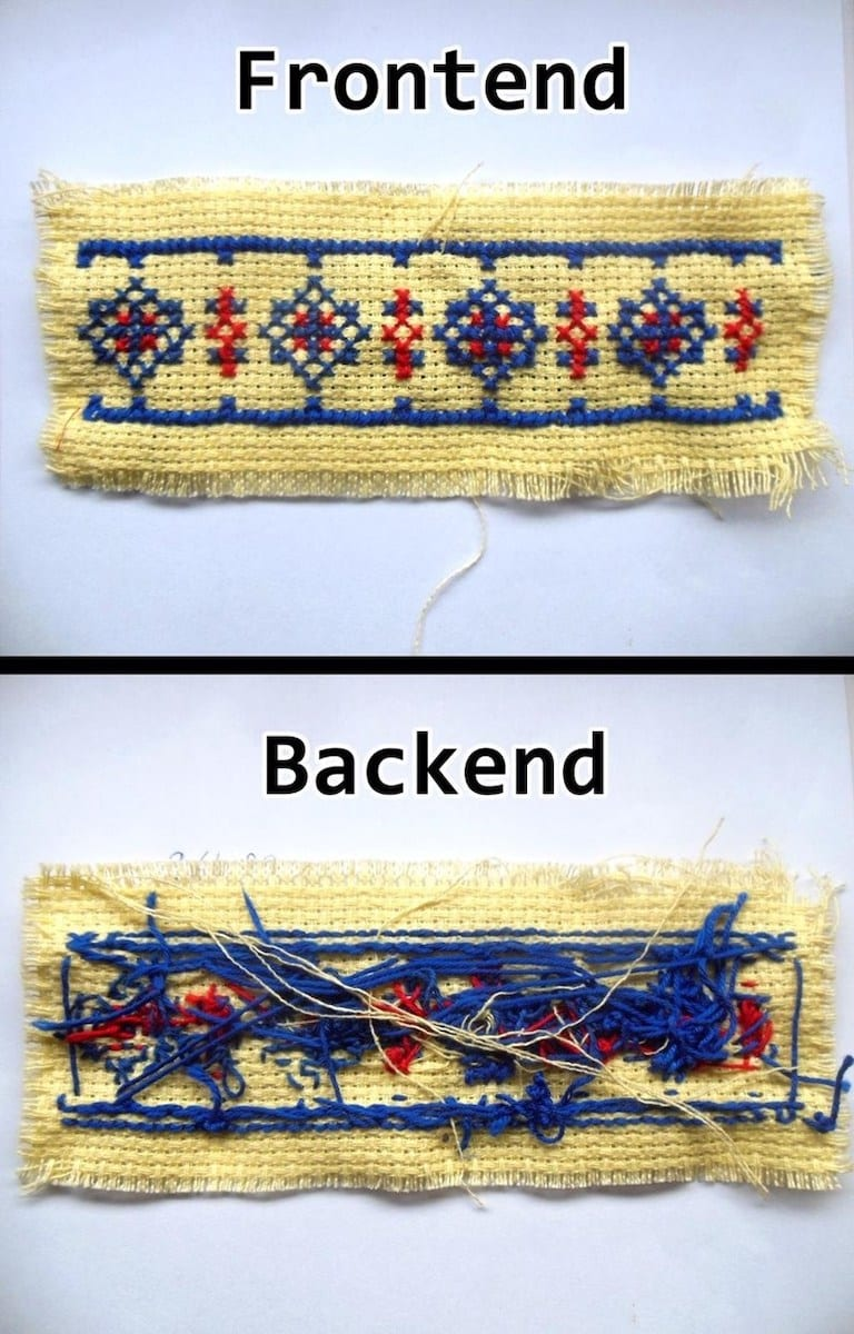 """image of cross stitch with """"front end"""" and """"back end"""""""