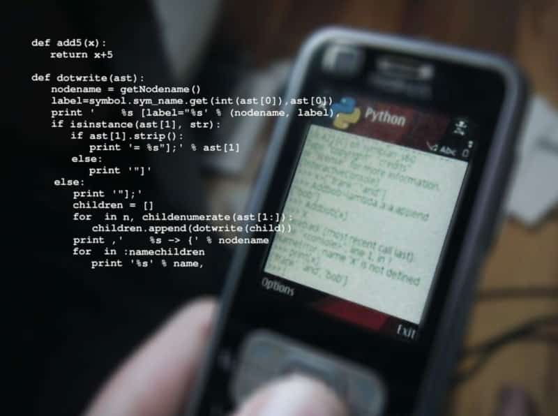 Image of code on a cell phone.