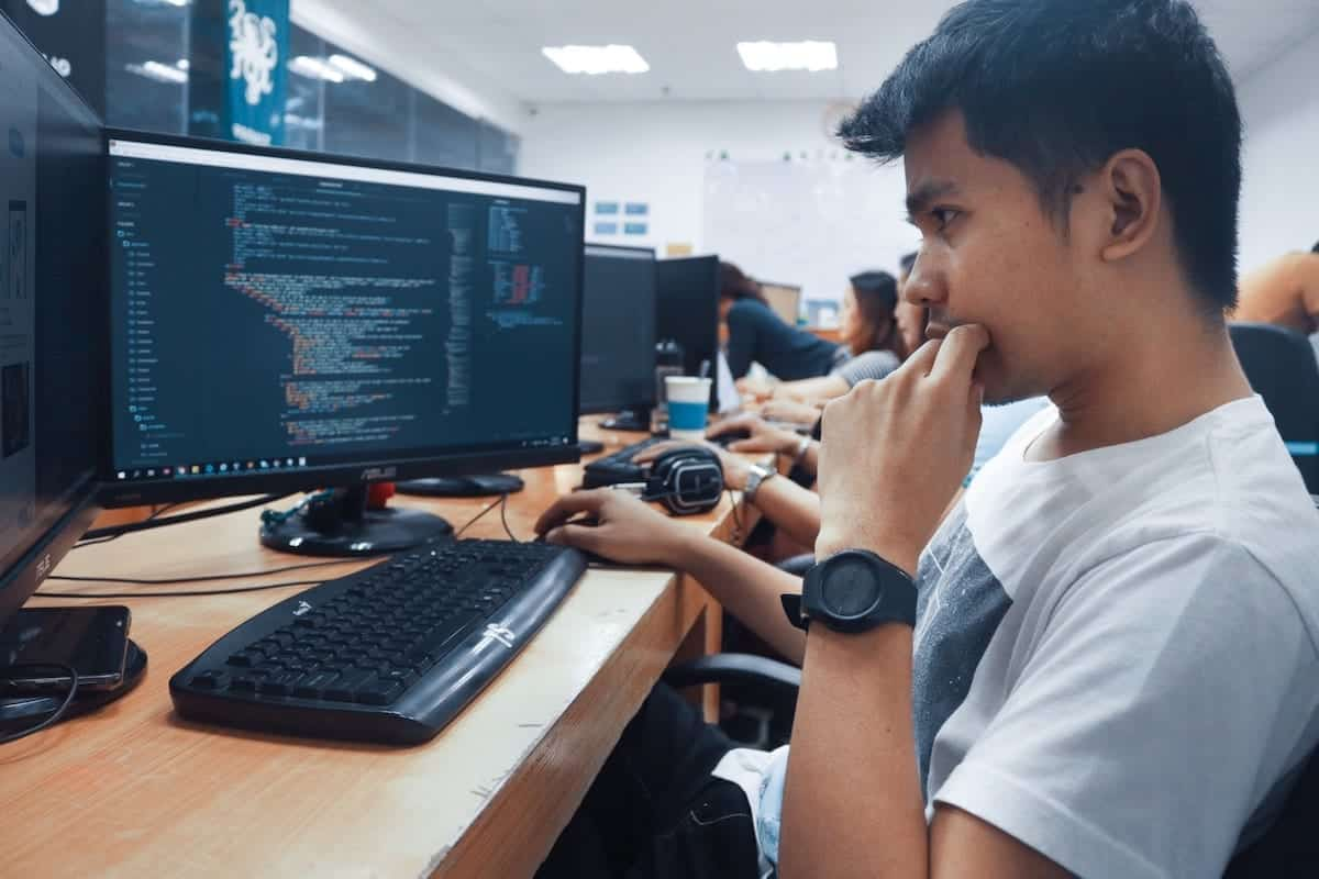 student learning to code