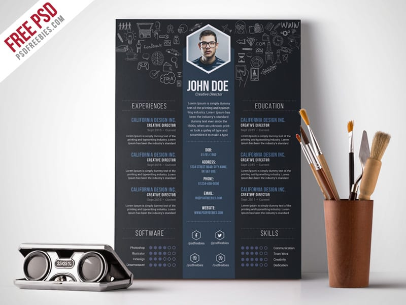 Free creative design resume template from PSDFreebies