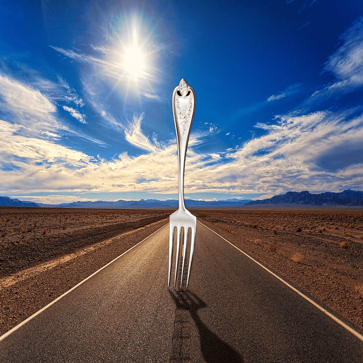 Picture of a fork in the road. Signifies having to make a decision between two choices.""