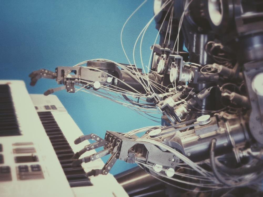 Example of machine learning: robot playing piano