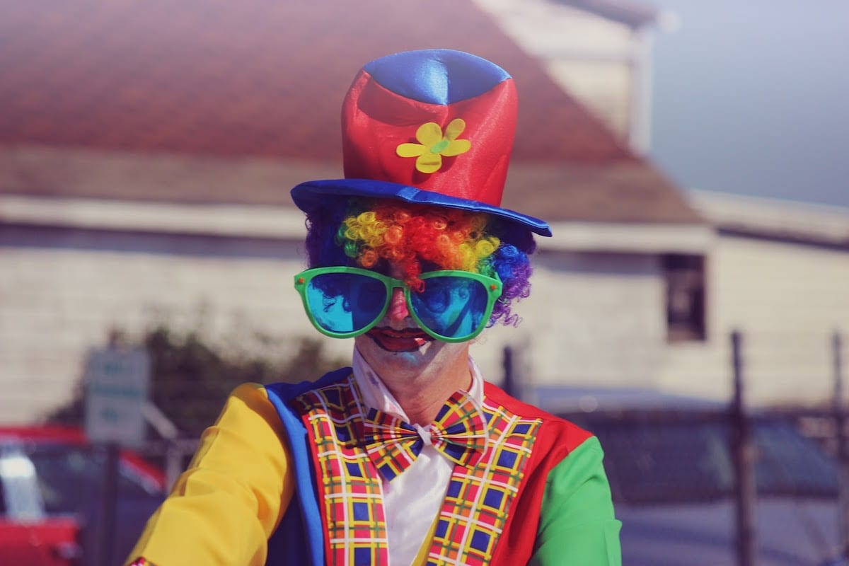 Clown with oversized glasses
