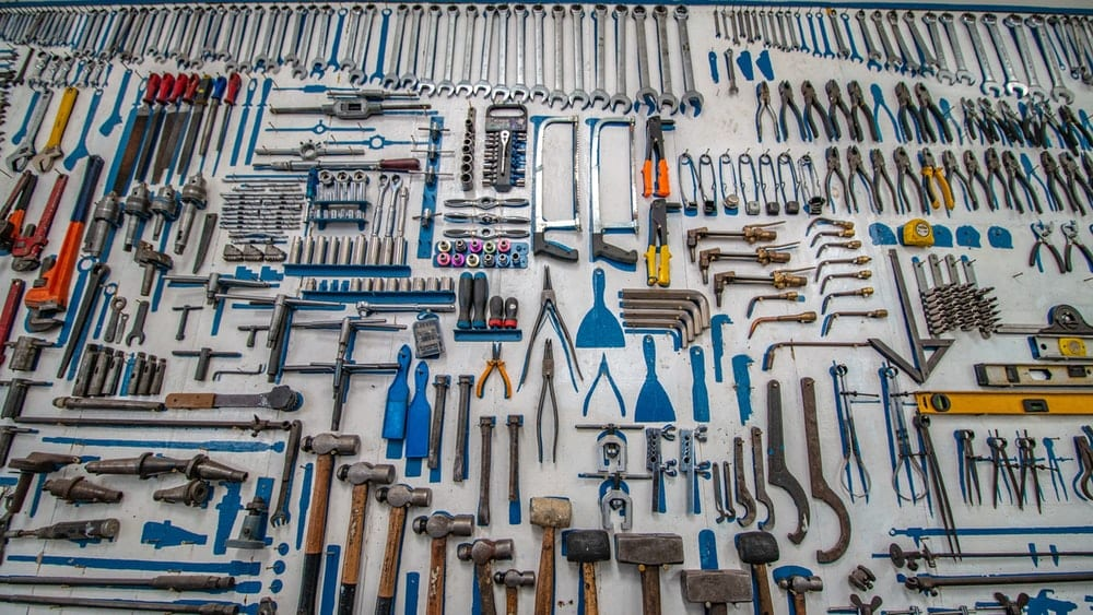 Tools mounted on a wall.