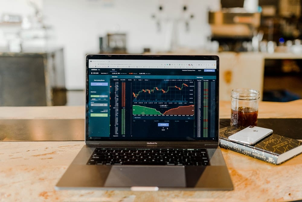 Trading charts on a computer screen.