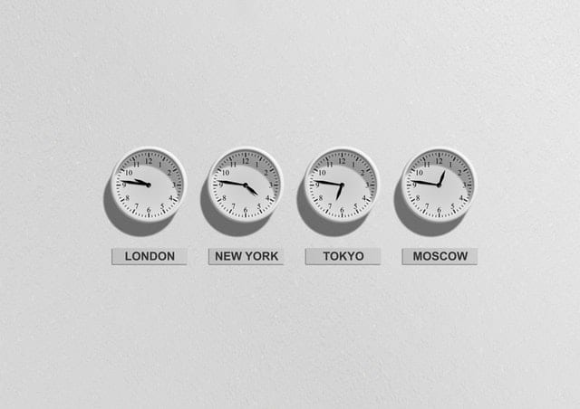 A picture of clocks with different time zones
