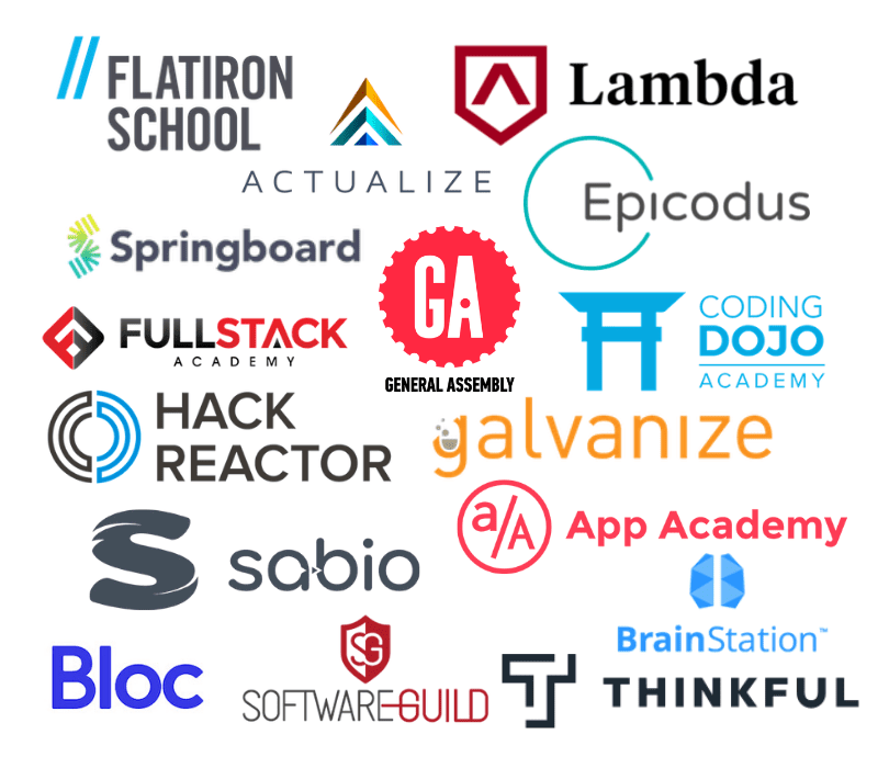 Bootcamp Logos to signify crowded coding bootcamp market