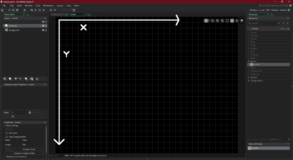 x and y variable coordinates on GMS 2 room grid