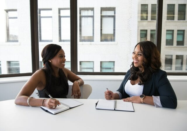 two women in an interview