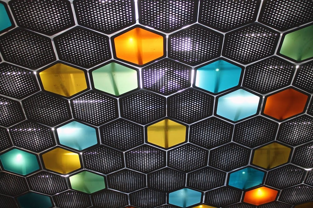 A series of colorful hexagons.