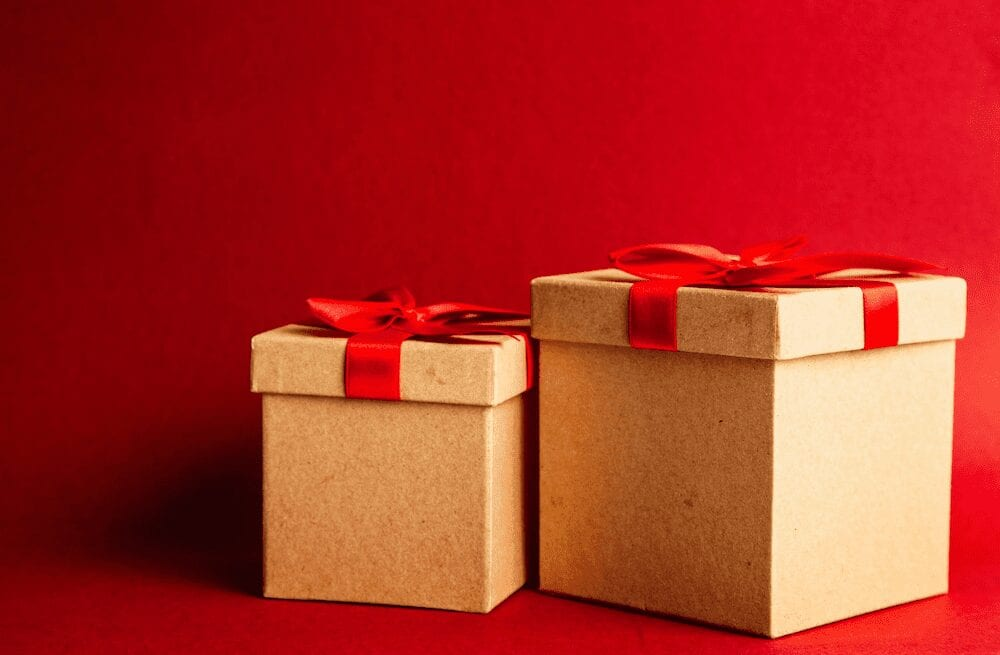 A pair of gift boxes