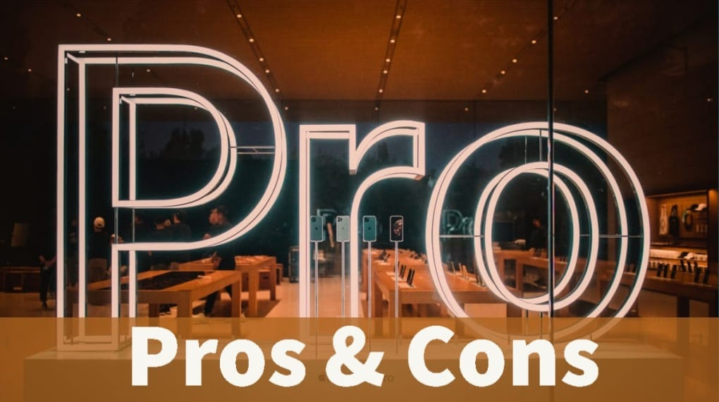 Neon light in window says pro, iphones on stands