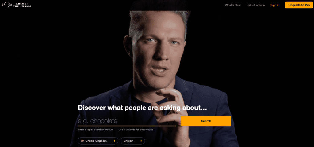 Screenshot of Answer the Public Homepage