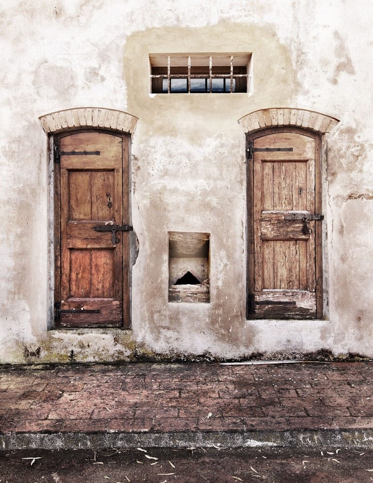 Two closed doors
