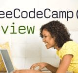 woman laying on couch with laptop. heading reads: freeCodeCamp Review and includes the freeCodeCamp logo