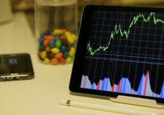 An Android tablet displaying a graph