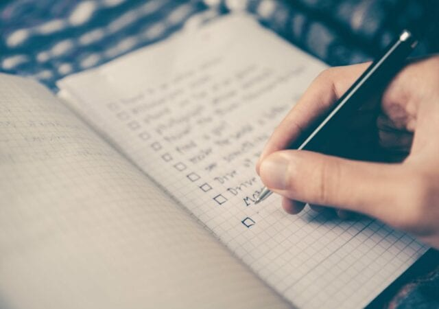 Checkboxes written with pen and paper