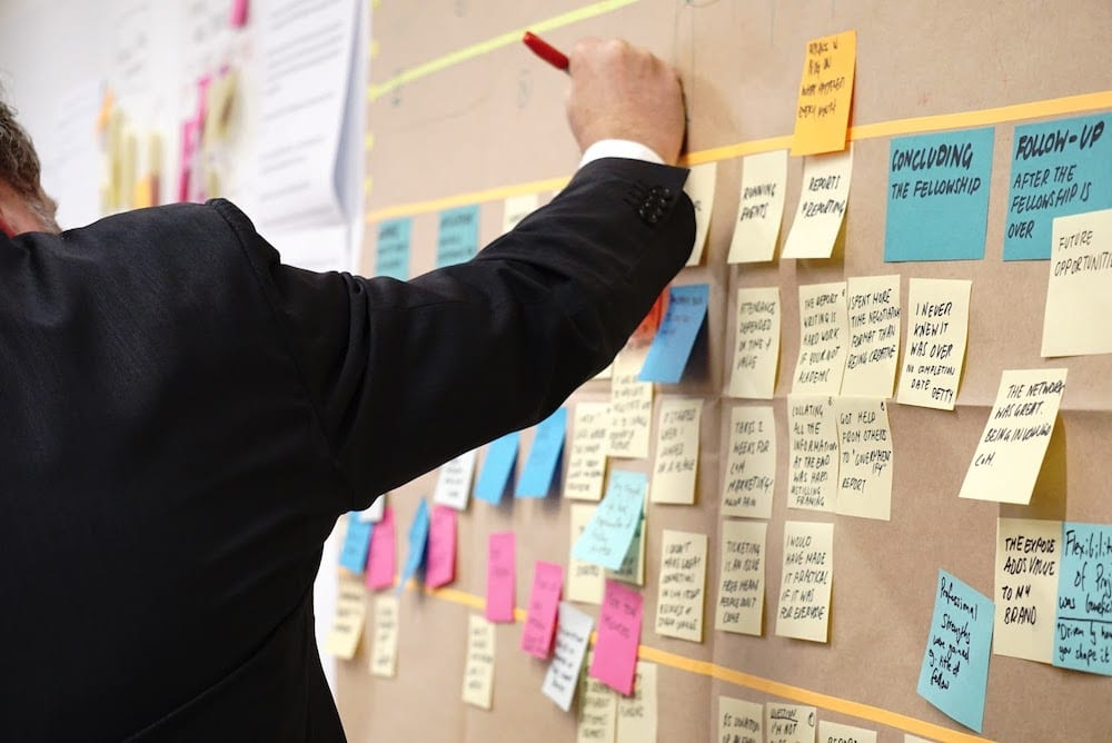 Man in a suit jacket writes something on a board covered in several rows of multi-colored post-it notes.