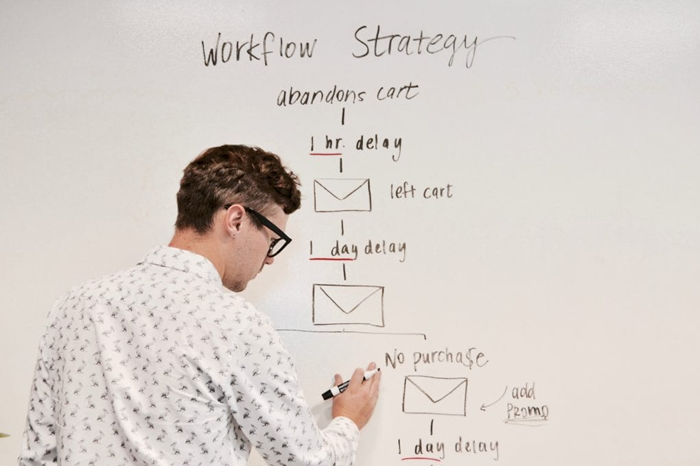 A marketing student writes on a whiteboard