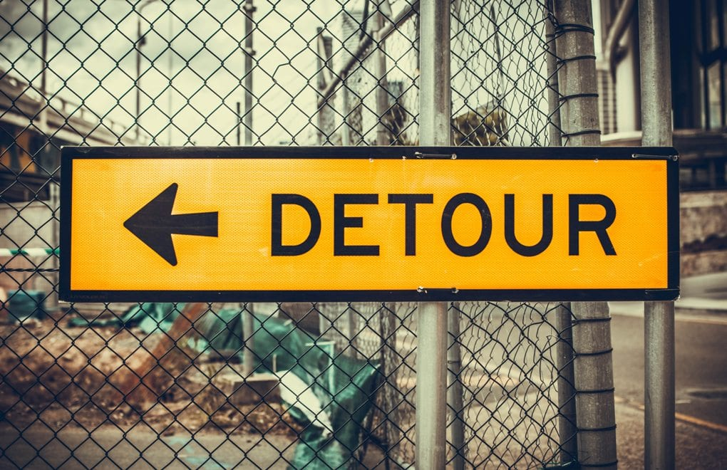 Yellow and black detour signage