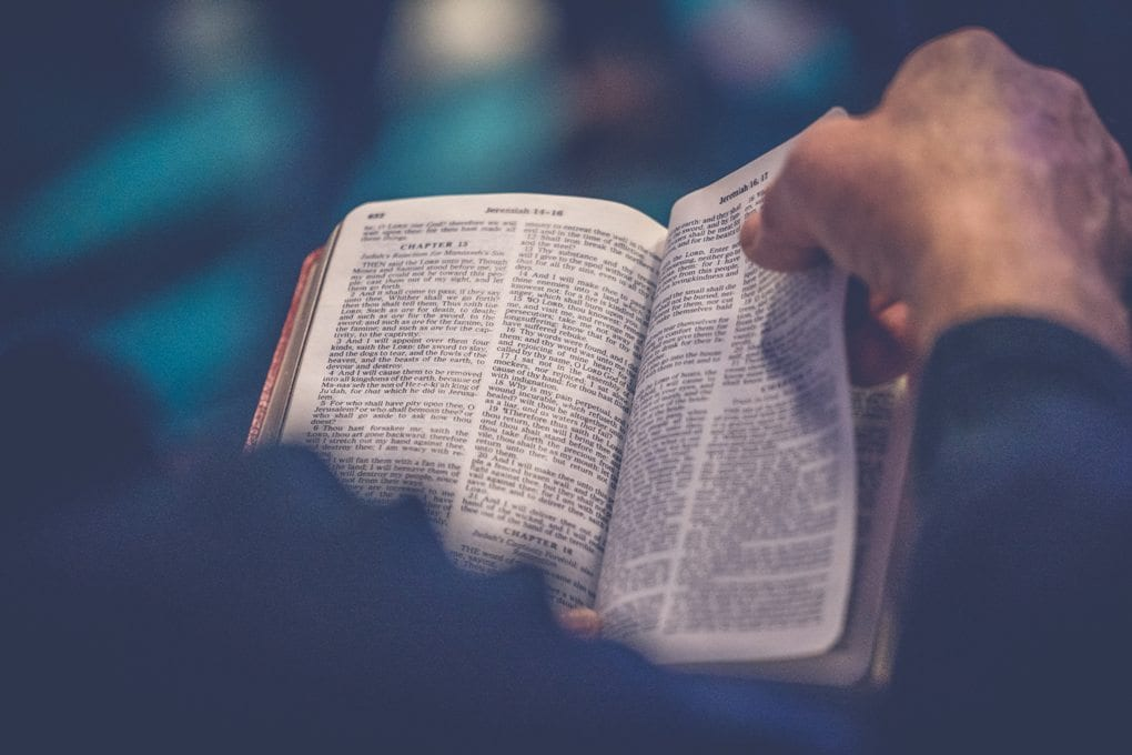 person's hands holding a bible