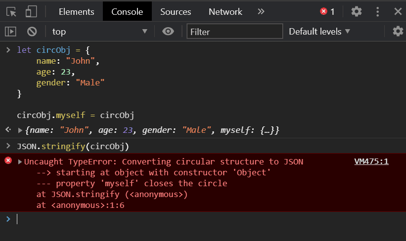 Converting Circular Structure to JSON