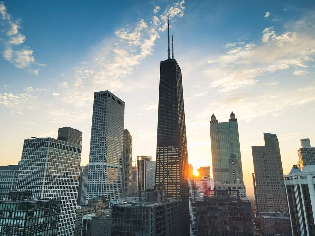 Chicago cityscape with sun in the background