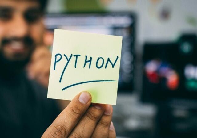Python written on a post it note