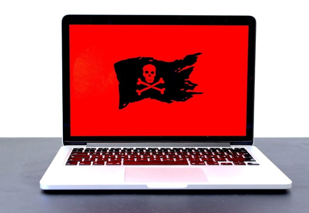 a red and black pirates flag on a laptop screen