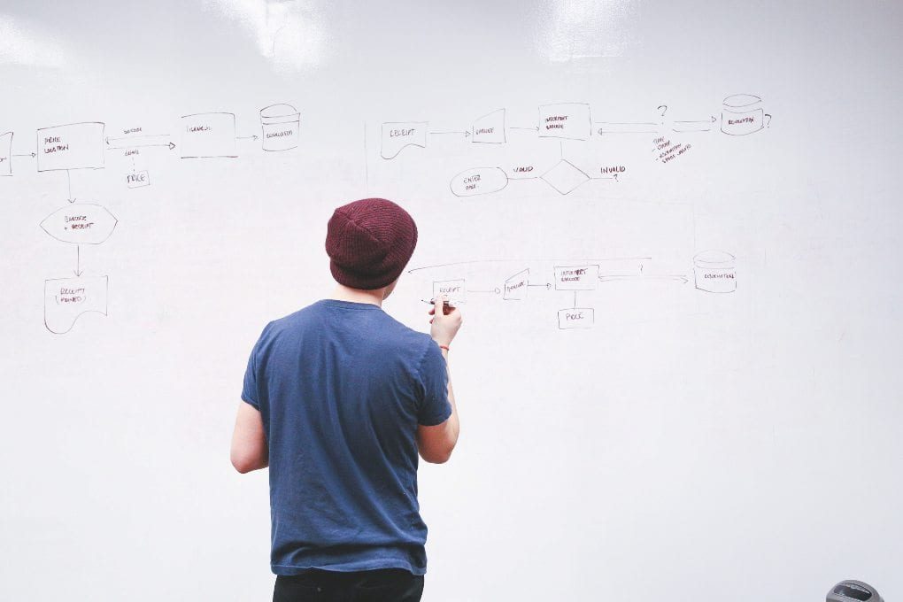 man standing in front of white board