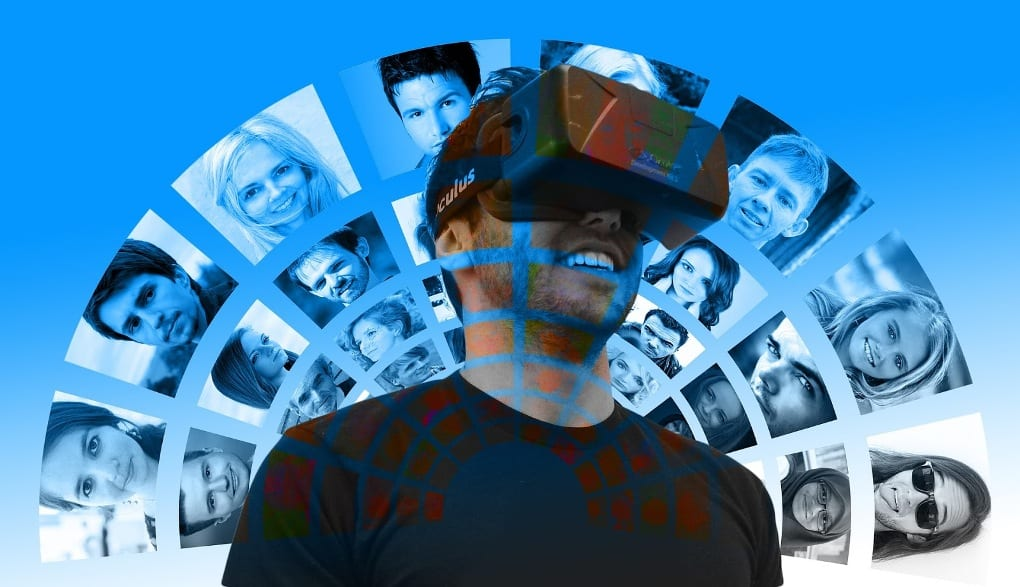 In front of a blue sky, a man wearing a black shirt is looking through a VR headset, with a translucent array of headshots in a rainbow pattern superimposed across his head and shoulders.