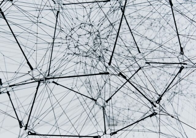 an abstract image of a black and white sculpture that resembles neural networks