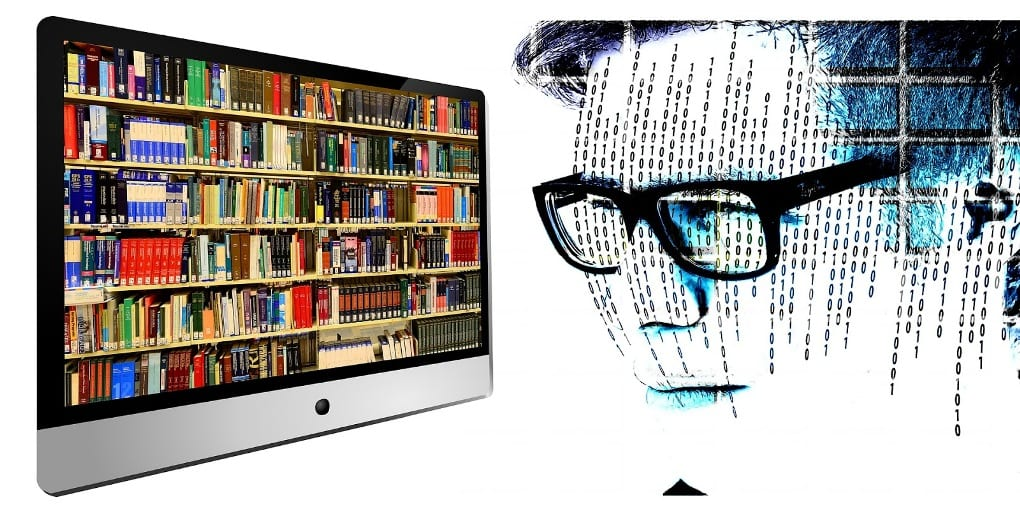 Against a white background, a split image of a computer monitor displaying bookshelves full of books and a digital representation of a bespectacled man's head with vertical lines of binary code following the contours of his face.
