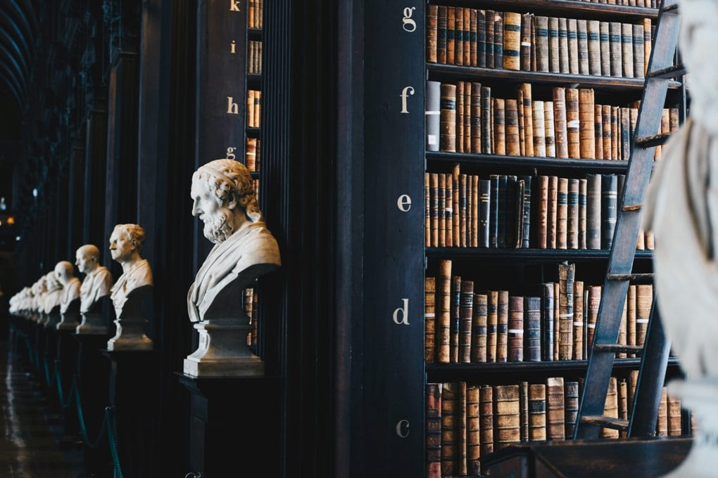 a row of white statue busts next to black bookshelves filled with classic texts