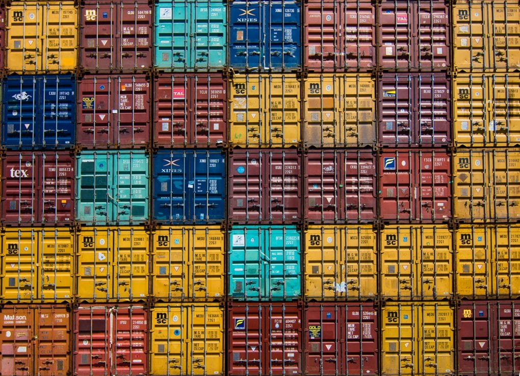 shipping containers of varying colors