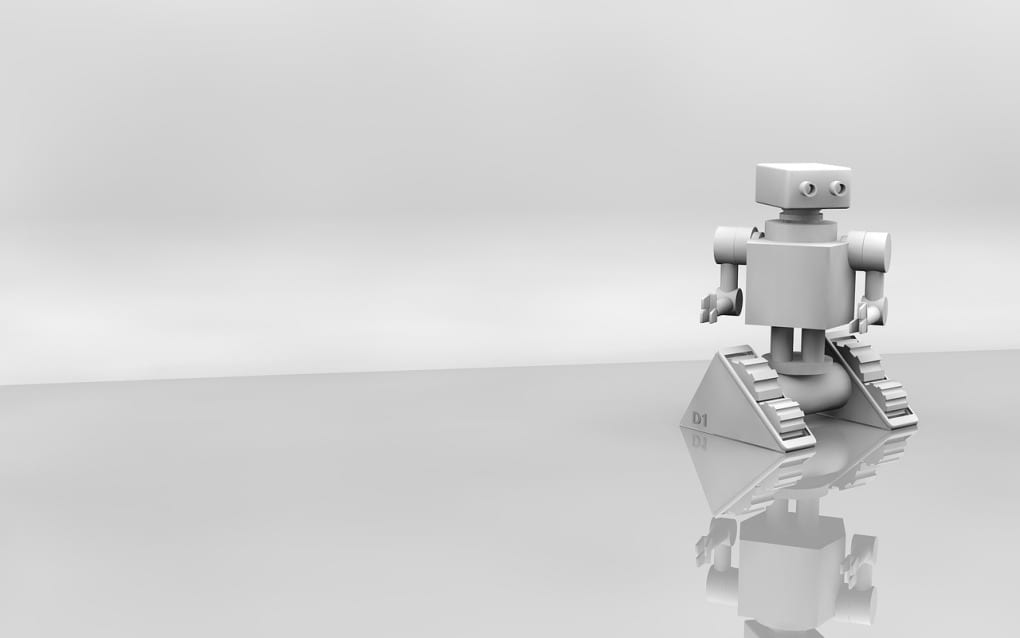3D design of a robot, silver and grey color