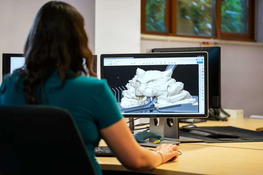 Woman designing 3D graphic on computer of tiger shaped mountain