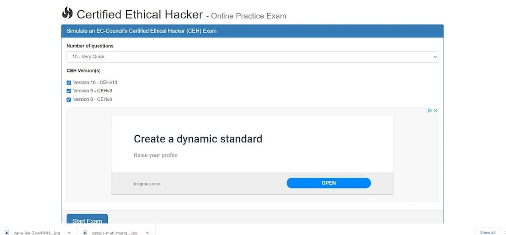 Certified Ethical Hacker Online Practice Exam