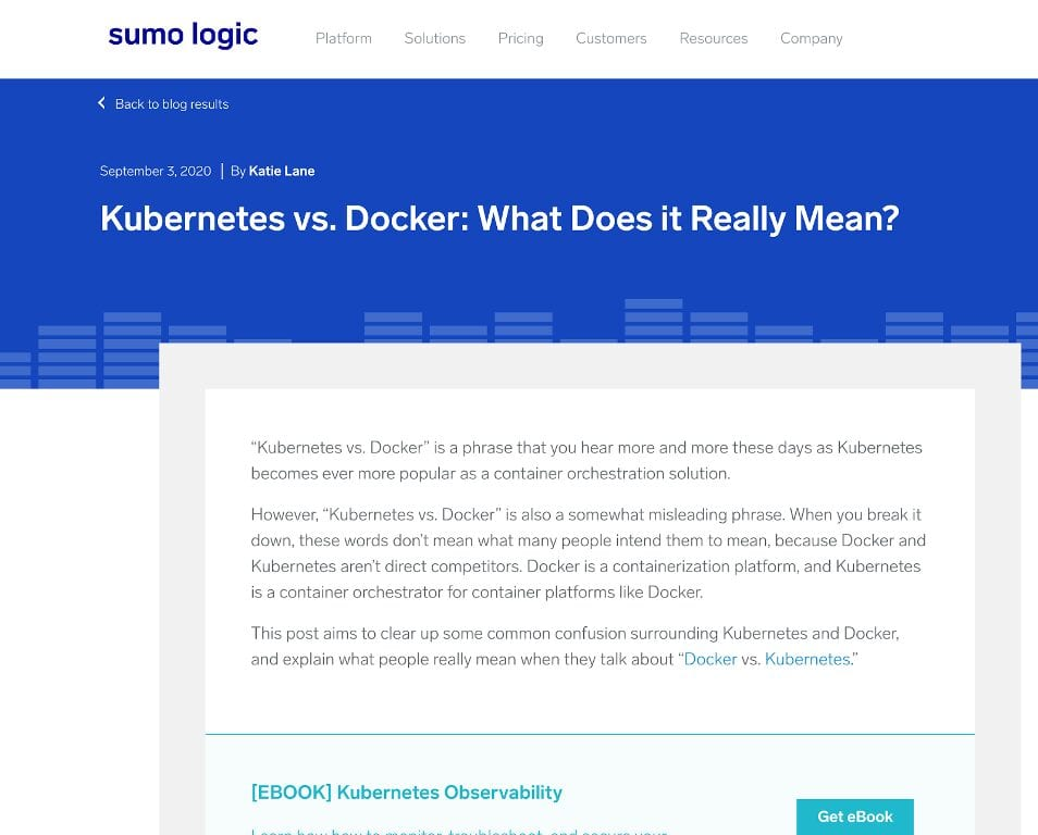 Kubernetes vs Docker: What Does It Really Mean -- Sumo Logic