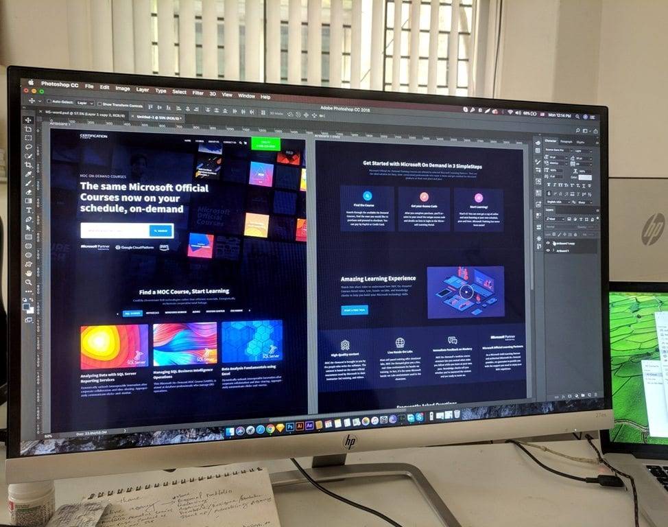 HP monitor with a sample UI design