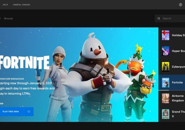 a screenshot of Epic Games website with Fortnite game displayed