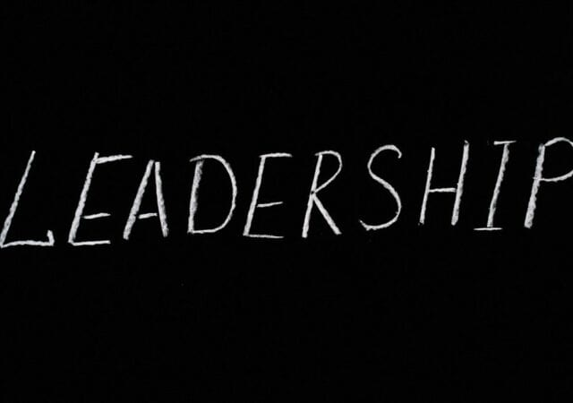 the word leadership written on a chalkboard