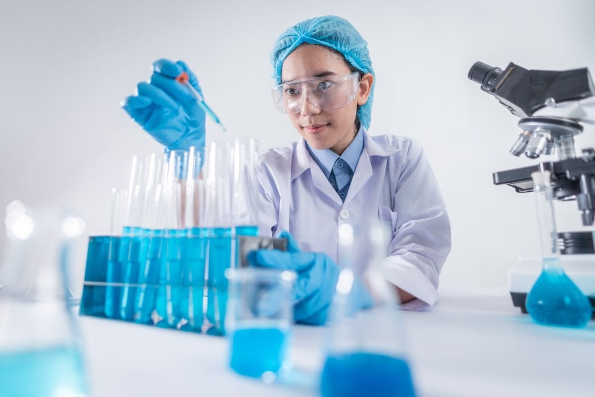 A Scientist Working in a Laboratory.