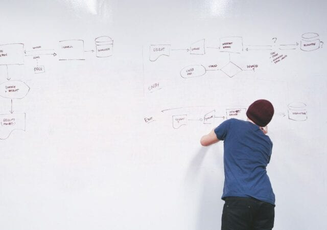 A person in blue shirt wearing a brown beanie drawing a structured diagram on a whiteboard with their back facing us