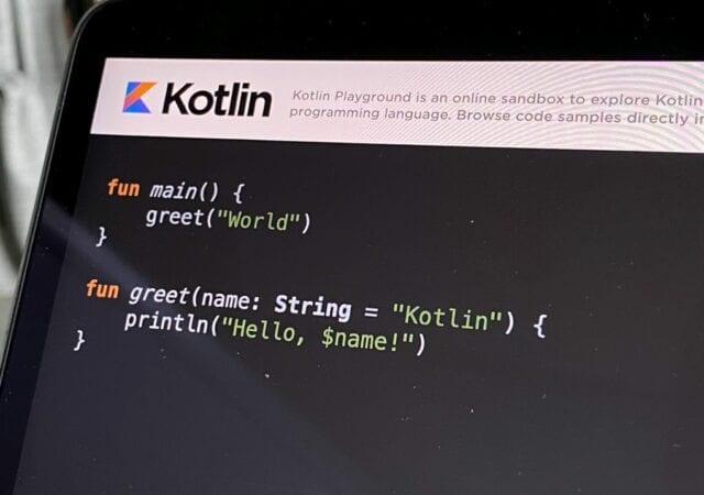 some kotlin code on a black flat-screen computer monitor