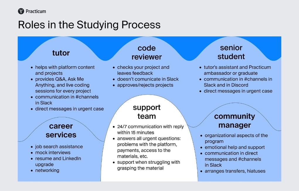 Infographic covering Practicum's support team