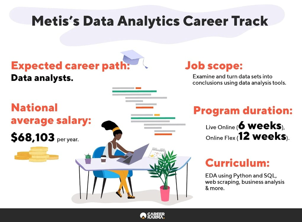 Infographic showing an overview of Metis's Data Analytics track
